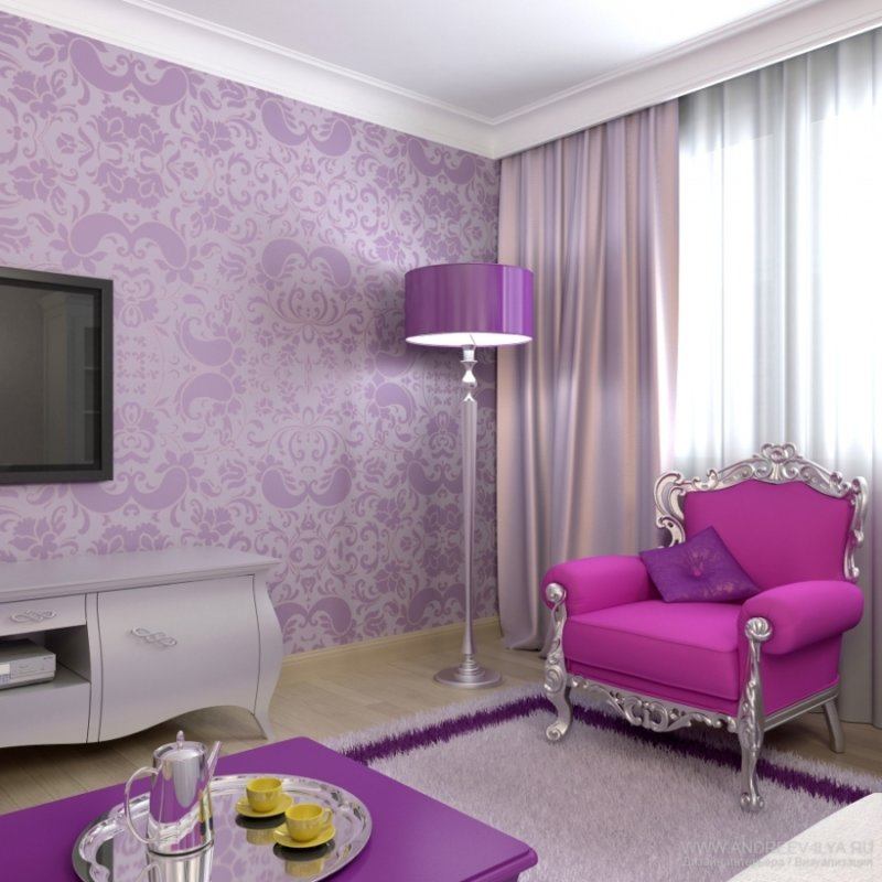 Lilac tulle in the interior. Purple curtains for the bedroom - a  spectacular decor for window openings