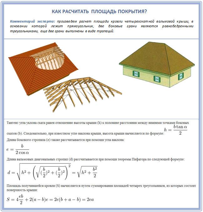 площадь крыши формула