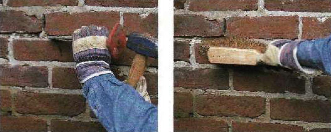 ремонт швов кирпичной кладки фасада